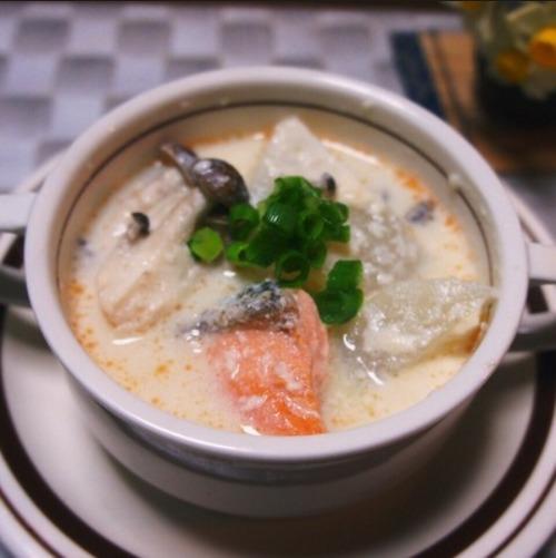 鮭の酒粕豆乳煮